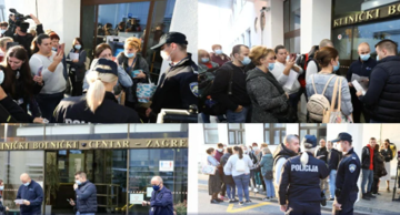 Protests in front of the Zagreb Clinical Hospital Centre