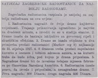 Natječaj za radiodramski tekst 1926.